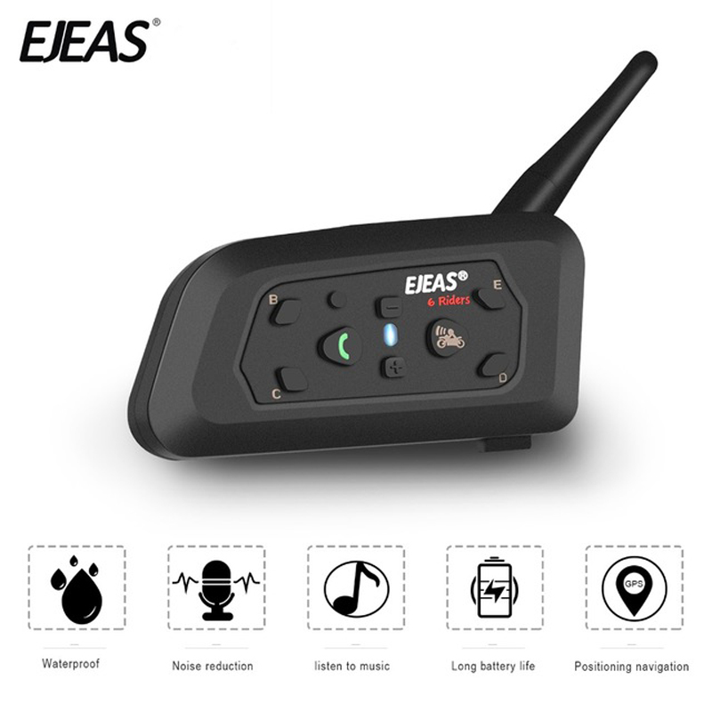 EJEAS V6 Pro Bluetooth Motorcycle Communicator Helmet Intercom 850mAh Moto Headset With Mic 1200m Interphone For 6 Riders