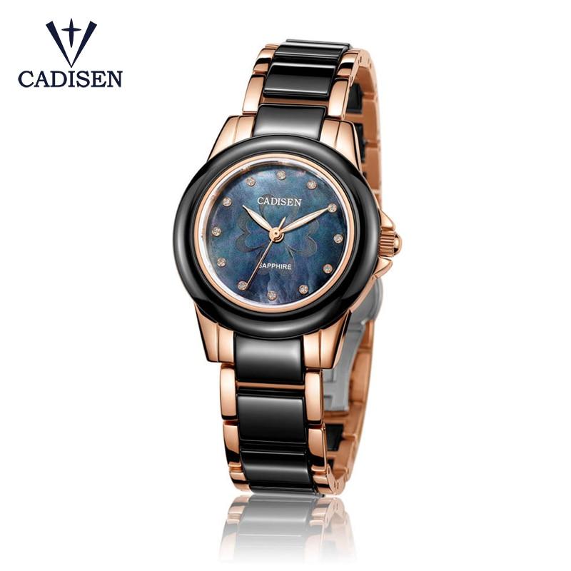 CADISEN Bling Rhinestone Luxury Steel Quartz font b Watch b font Women Clock Female Ladies Dress