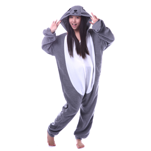 Кигуруми серый уплотнение комбинезоны пижама костюм для сна унисекс  взрослых пижамы костюмы для косплея животных Onesie 5407aac235a5a