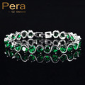 New Arrival Natural Simulated Emerald Jewelry Fashion Women Green Austrian Crystal Rhinestone Charm Bracelet For Party Gift B084