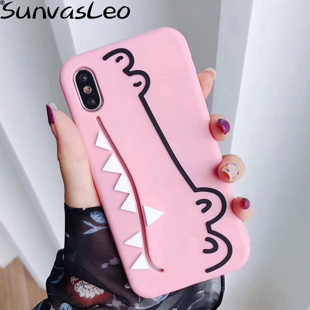 3D Cute Cartoon Crocodile Card Pocket Soft Silicone Case Cell Phone Back Cover Shell For iPhone 6 6s 7 8 Plus X XS XR XS Max in Fitted Cases from Cellphones Telecommunications