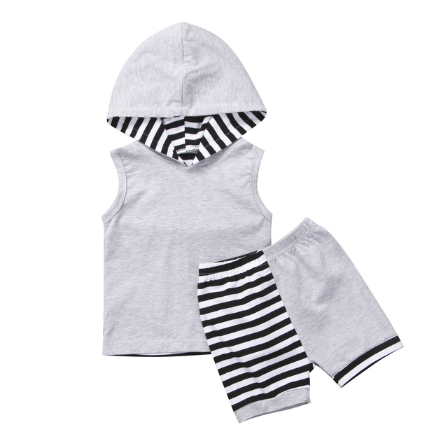 56c6e138f534 2018 New Cute Kids Baby Boy Gray Vest Tops+Striped Pants Shorts 2PCs ...