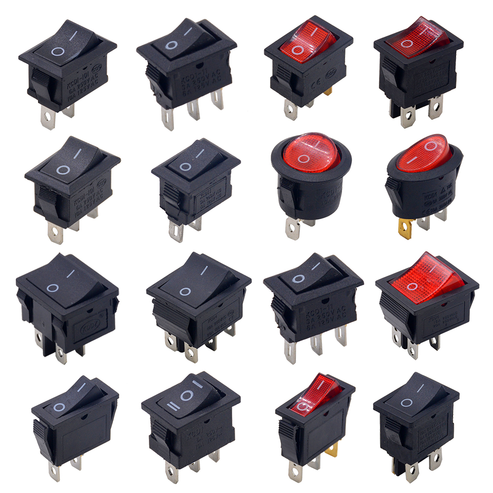 5pcs/lot SPST 2/3/4/6PIN ON/OFF Round/Square Boat Rocker Switch Car Dash Dashboard Truck RV ATV Home KCD