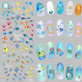Rocooart DS208 Nail Design Water Transfer Nails Art Sticker Color Ocean Fishes Nail Wraps Sticker Watermark Fingernails Decals