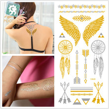 Waterproof Body Art Painting Tattoo Stickers Glitter Metal Gold Silver Temporary Flash Tattoo Feather Indians Tattoos V4620