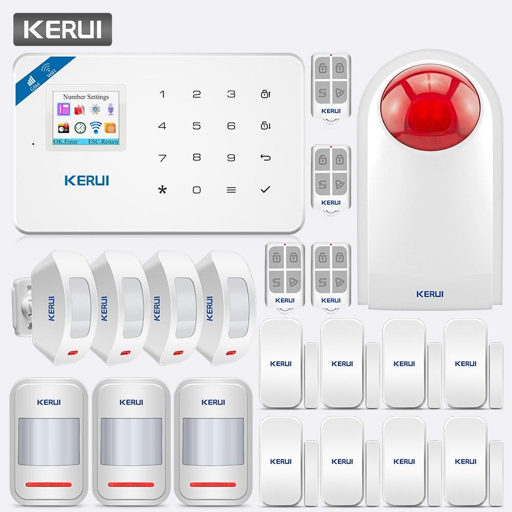 KERUI W18 WIFI GSM Home Safety Burglar Alarm System APP Control Motion Detector Door Detector Alarm