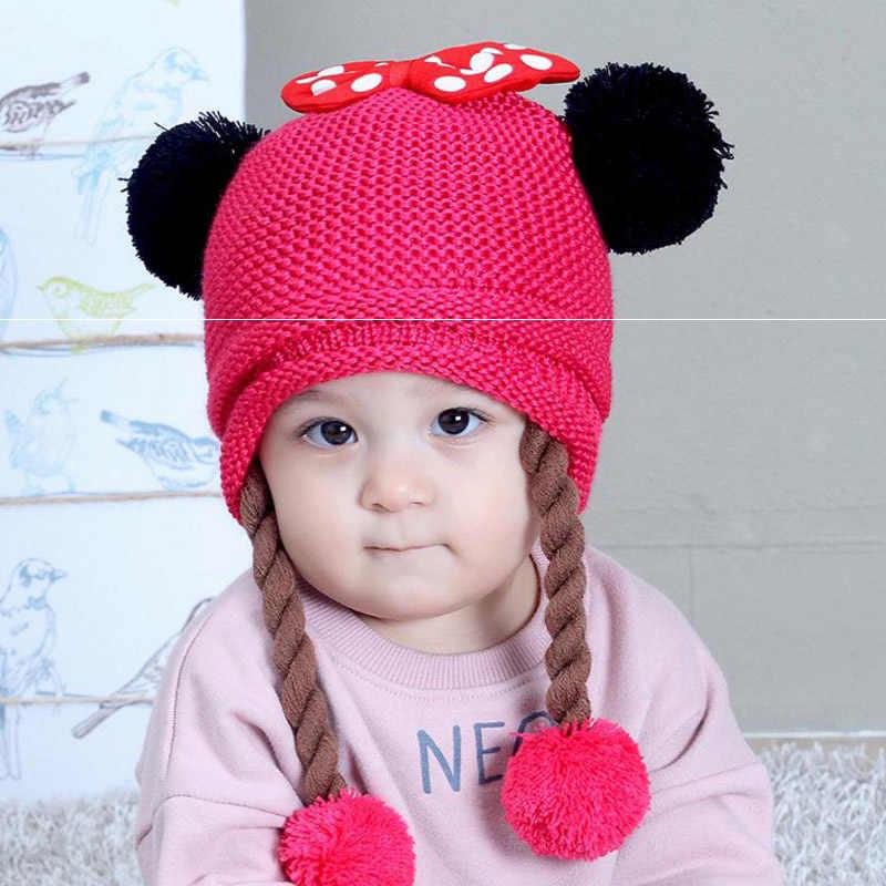 Doitbest สอง wigs ขนสัตว์หมวกฤดูหนาวเด็กทารกถักหมวก Bowknot fur ball เด็ก Earflap หมวกสำหรับ 6 เดือน 2 ปี