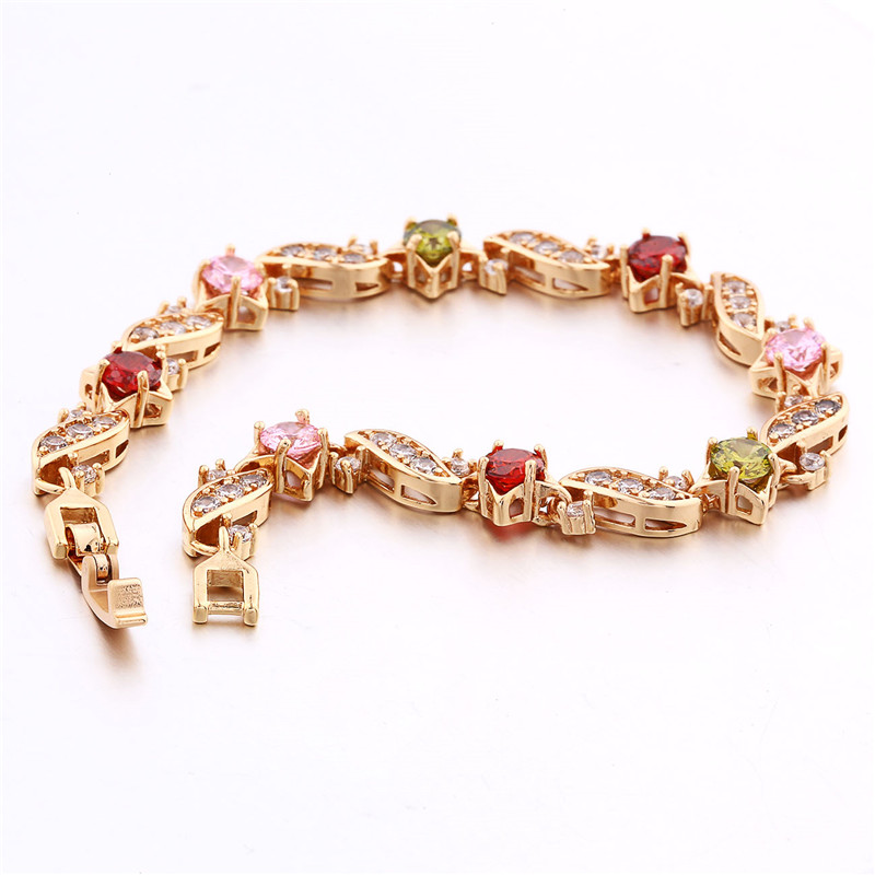 BUDONG 18cm Fashion Hand Bracelets for Women Silver/Gold Color Bracelet Pink Crystal Cublic Zirconia Jewelry Bangles XUL104 8