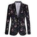 Envío de la nueva 2017 más el tamaño 5xl masculina de un solo botón diseño estampado floral slim fit blazer chaqueta de traje hombres de la moda hombres/XF33