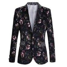 Freies verschiffen neue 2017 plus größe 5xl männlichen single button design anzug jacke männer mode-blumendruck slim fit blazer männer/XF33