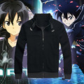 Anime SAO Sword Art Online Kirito Unisex Black Cotton Hoodie Zipper Coat Sweatshirt Autumn Jacket Casual Clothes