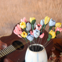 One Piece Tulips Natural Material Colorful Handmade Flower Combination With Long Rod Home Decoration Flower Arrangement