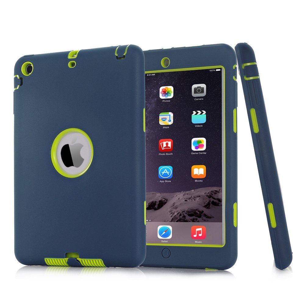 For iPad mini 1/2/3 Retina Kids Baby Safe Armor Shockproof Heavy Duty Silicone Hard Case Cover Screen Protector Film+Stylus Pen