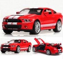 Высокая симуляция сплава литья под давлением 1:32 игрушечных автомобилей Mustang Shelby GT500 модель автомобиля Металл со звуковым светильник