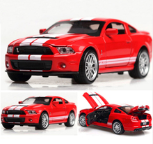 High Simulation Alloy Diecast 1:32 Toy Vehicles Mustang Shelby GT500 Car Model Metal With Sound Light Pull Back Toy Car Gifts