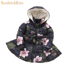 Winter Girls Coats Printed Flowers Baby Girl Warm Coat Kids Padded Long Jackets Hooded Parkas For Girls Children's Outerwear