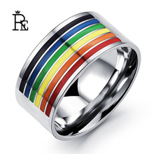 RE New Style Stainless Steel Rainbow Ring for Men Women Colorful Best Gift Finger Knuckle Rings