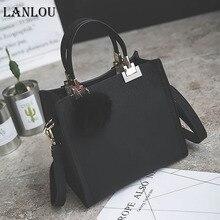 LANLOU женские сумки через плечо для женщин, новая модная сумка на плечо, роскошные сумки, женские сумки, дизайнерские дорожные сумки с помпонами, матовая сумка