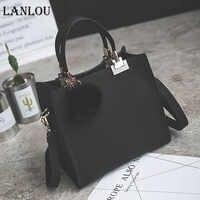 LANLOU Female crossbody bags for women New fashion shoulder bag luxury handbags women bags designer travel Hairball bag frosted