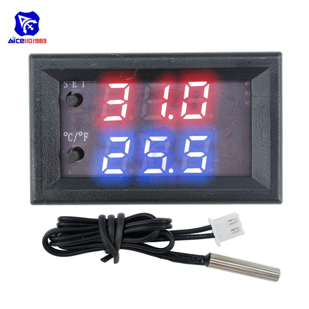 W1209WK 12V 220V LED Digit Thermostat Temperature Controller Thermometer Celsius/Fahrenheit Switch Module with NTC Sensor Probe 7