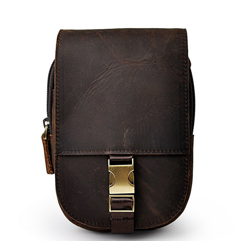 New Top Quality Genuine Real Leather Cowhide men vintage Brown Small Hook Belt Bag Waist Pack 6 Phone Case vintage bags real genuine leather cowhide men waist pack pouch for men leather waist bag outdoor travle belt wallets vp j7144 page 9
