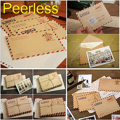 Peerless 9.6x7.3cm 50 Pcs/set Mini Retro Vintage Kraft Paper Envelopes Cute Cartoon Kawaii Paper Korean Stationery Gift Mail & Shipping Supplies