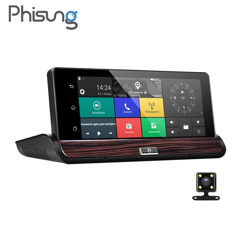 Phisung V50 7 Tactile Android 3G rétroviseur gps enregistreur numérique WIFI voiture enregistreur vidéo caméra de tableau de bord pour voiture FHD 1080 P Double Caméra ROM 16 GB