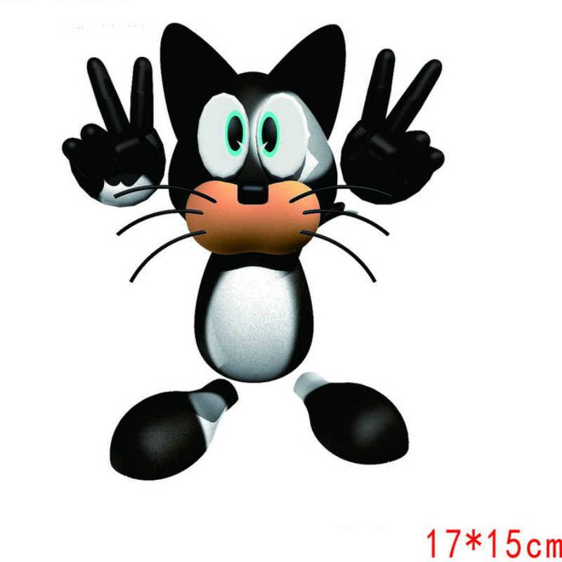 Aliauto decoración del coche de dibujos animados divertido Bulldog gato negro etiqueta engomada etiqueta para Peugeot 307, 206, 407, 406, 405, 3008, 4008, 208 308, 306, 107,