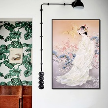 Unframed Japan Style Poster Decorating Plum Flower Pink Kimono Lady Canvas Painting Wall Art Picture for Living Room Decoration