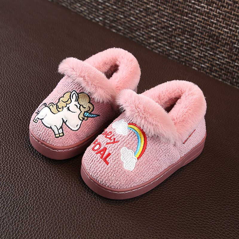 ad226c9f2860e9 Unicorn Slippers Kids Fur Slippers Girls Winter Warm Shoes Boys Rainbow  Flip Flops Children Cotton Home Shoe Baby Toddler shoes-in Slippers from  Mother ...