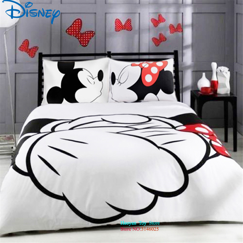 Disney 3pcs/set Mickey Minnie 3D Printed Bedding Set Duvet Cover Set Duvet Bed Set for Kids Adult Bedding Bedclothes Queen King 100% mulberry silk pure naturals blanket quilt bedclothes duvet filling for winter summer king queen twin size white red color