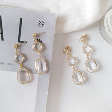 Elegant Geometric Clear Crystal Clips on Earring Without Piercing for Women Korea Fashion No Piercing Hole Ear Clip(China)