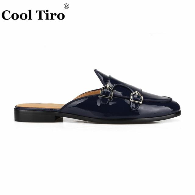 Cool Tiro Dark blue Patent leather Slippers Men Mules DOUBLE-MONK Slip-On Flats Men Handmade shoes Casual Shoes Plus size black