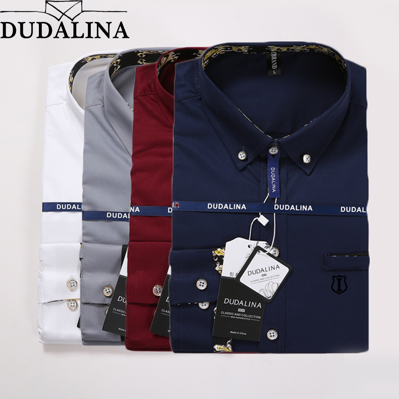 DUDALINA Sergio K Camisa 2020 Brand Clothing Men's Shirts With Long Sleeves Solid Shirt Slim Fit Cotton Casual Social Shirt Men