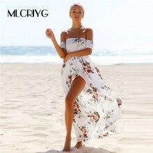 MLCRIYG New arrival Floral Print Strapless Long Dress Women Summer Boho Long Dress Slipt Plus Size