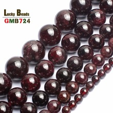 wholesale 4.6.8.10.12mm Natural Dark Red Garnet Round beads 15.5 Pick Size Free Shipping-F00100