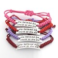She Believed She Could So She Did Weaven Adjustable ID Charm Bracelets Mix Colors Genuine Leather Bangles 10pcs