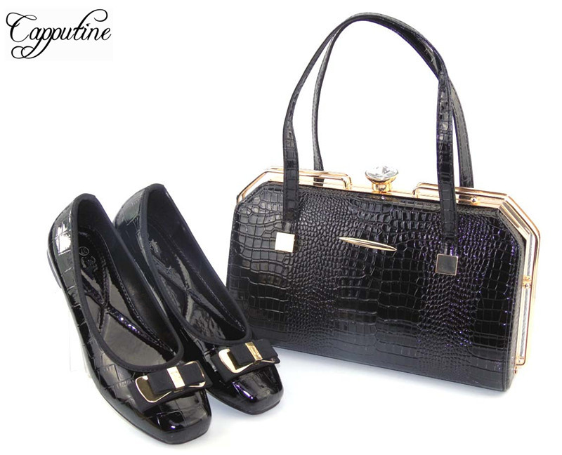 Capputine Hot Seeling PU Leather Shoes And Bag Set African Style Elegant Woman Black Color Shoes And Bag Set For Party