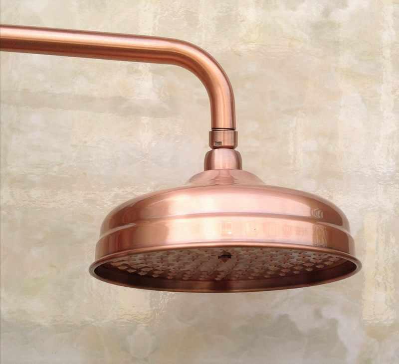 """Antique Red miedź mosiądz podwójny uchwyty ceramiczne łazienka 8 """"okrągły deszczownica kran zestaw ścienny wanna Mixer Tap mrg534"""