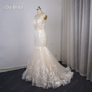 Image 3 - Illusion Top Lace Wedding Dress Mermaid Low Back Sexy Bridal Gown