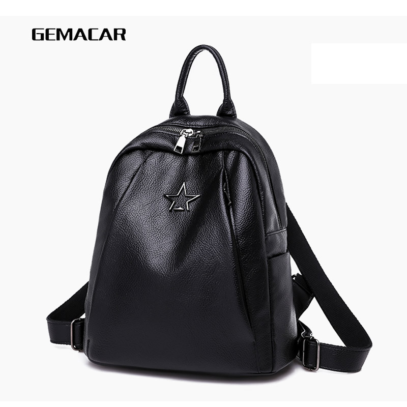 Popular Joker Female Backpack Casual Shopping Women Bag Fashion Soft Pu Leather Student Bagpack Classic Black Design Lithe