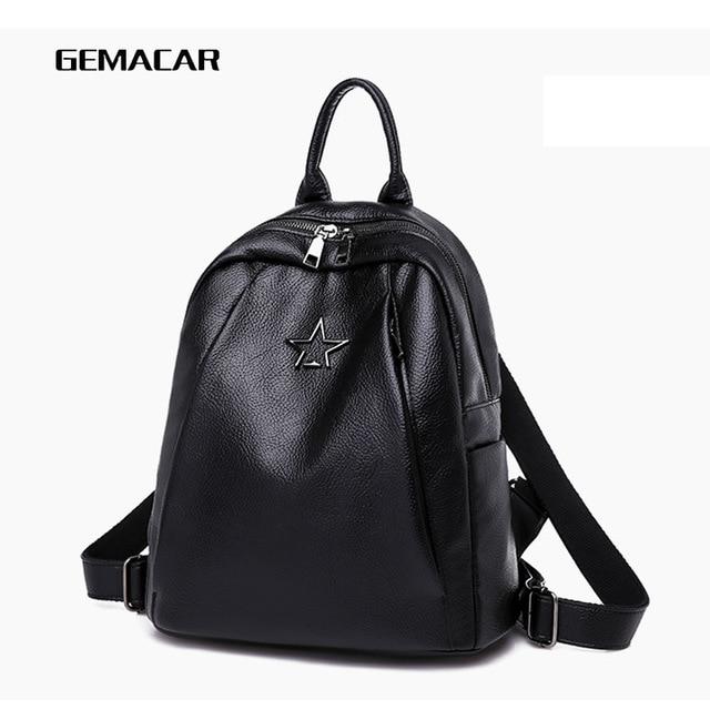 Popular Joker Female Backpack Casual Shopping Women Bag Fashion Soft Pu Leather Student Bagpack Classic Black Design Lithe