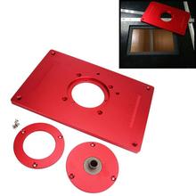 Uniwersalny aluminiowy Router płytka stołowa 200x300x10mm z pokrywą do obróbka drewna maszyna do grawerowania drewna DIY tanie tanio 85x85mm