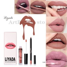 liyada matte lipstick matte Liquid Lipstick+lips pencil makeup lip kit matte lip gloss kilie Cosmetic Waterproof Batom Maquiage