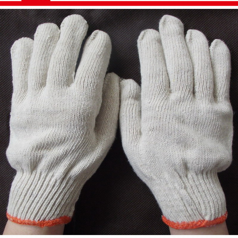 White Knitted Cotton Gardening Glove Work Protection Gloves oil free comfortable cheap nitrile gloves white nylon knitted hands protection gloves white mechanic construction industry