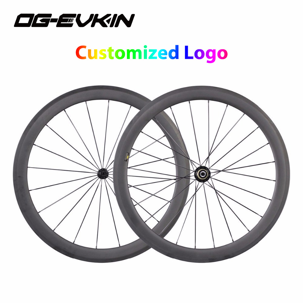2018 700C Customized Wheelset Carbon Road Bike Wheels depth 271 hub Bicycle Clincher Tubular 700C Rims carbon wheel V disc brake velosa supreme 50 bike carbon wheelset 60mm clincher tubular light weight 700c road bike wheel 1380g