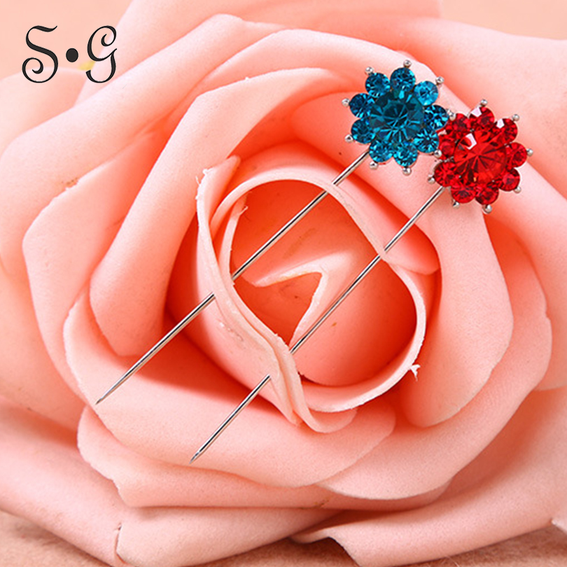Wholesale 12pcs/pack Pin flower crystal Women Safety Scarf Pin New Hijab Pins Rhinestone Muslim Hijab Brooches women brooch