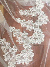 1 yard Vintage style clear sequin floral embroidery lace fabric trim , bridal veil wedding cape shrug by