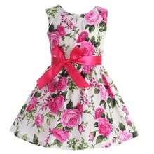 AmzBarley Toddler Girls Dress kids Sleeveless Floral Bow-knot A-line Summer Cotton clothing Party Princess costume