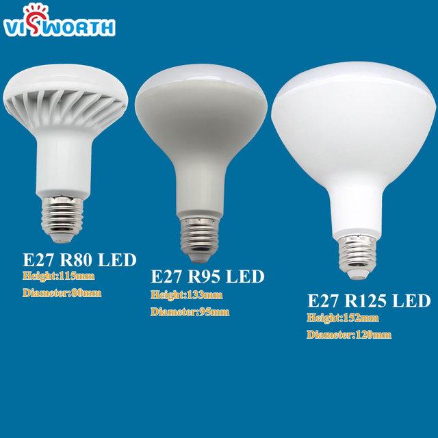 VisWorth R39 R50 R63 R80 LED Lamp E14 E27 3W 5W 7W 9W AC 220V 230V 12W 15W 20W R80 R95 R125 Led Bulbs Warm Cold White SpotLight